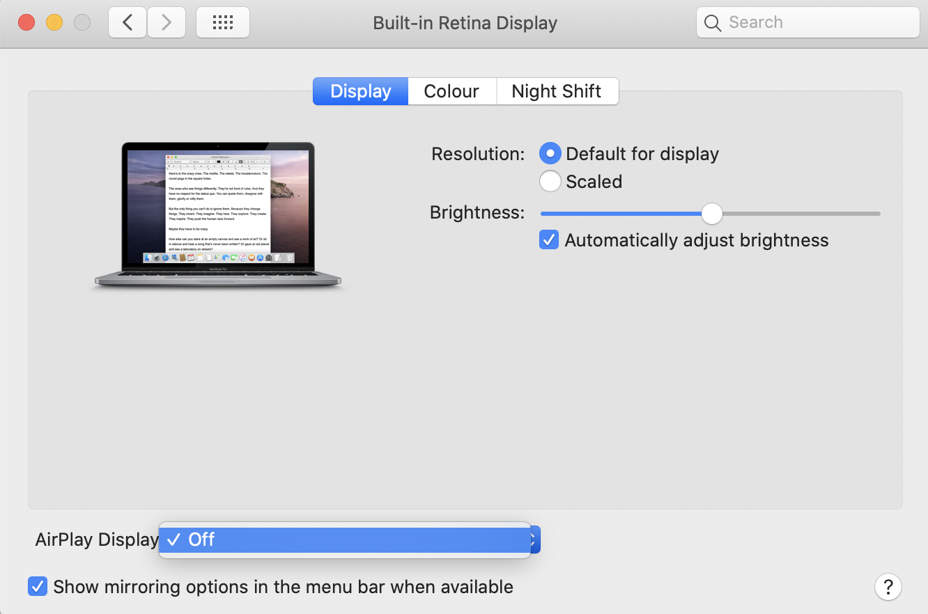 airplay symbol not showing up on mac