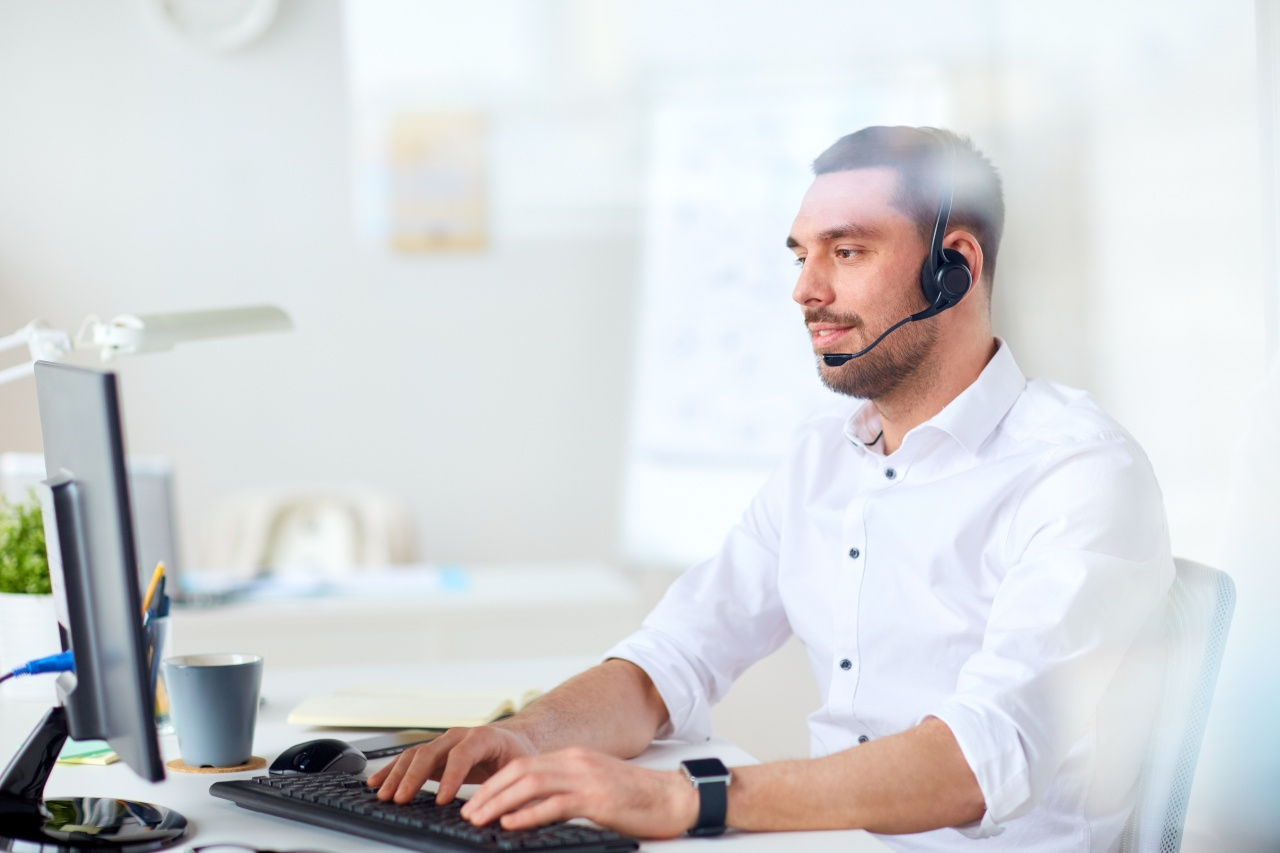 Businessman with headset on Microsoft Teams