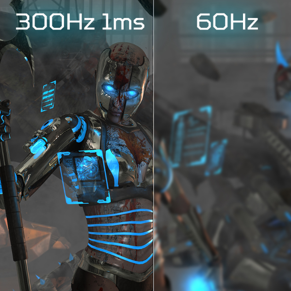 The difference between 300 Hz and 60 Hz is easy to see